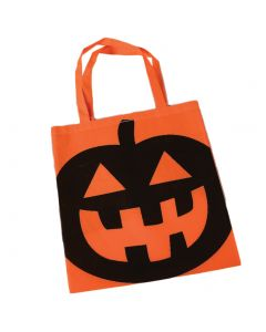"""Halloween Pumpkin 16"""" Candy Trick-or-Treat Tote Bag with Handles, Orange"""