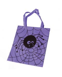 """Halloween Spider Web 16"""" Candy Trick-or-Treat Tote Bag with Handles, Purple"""