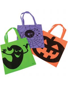 """Spooky Halloween Candy 16"""" Trick-or-Treat Tote Bag, Assorted, 12 Pack"""