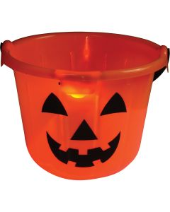 "US Toy Halloween Light Up Pumpkin Pail 7""x8.5"" Trick or Treat Bucket, Orange"