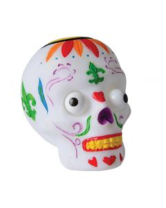 "US Toy Trick-Or-Treat Popping Eye Sugar Skull 2.5"" Non-Food Treats, White Multi"
