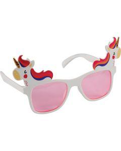 """U.S. Toy Unicorn Retro Frame Novelty Sunglasses, White Pink, One-Size 6.5"""""""
