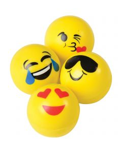 US Toy Emoji Smiley Bounce Balls Easter Egg Filler 35mm Party Favors, 12 Pack