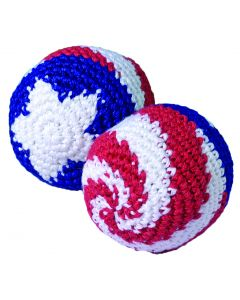 US Toy Patriotic Kickball Hacky Sack 2 in Party Favor, Red White Blue
