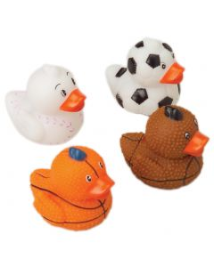 """US Toy Small Sports Ball Theme Rubber Ducks 1.5"""" Toy Fillers, 12 Pack"""