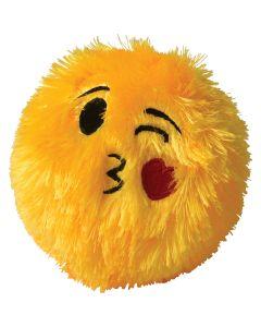 "Plush Kiss & Wink Emoji Smile Inflatable Ball 6"" Inflatable Toys, Yellow Black"