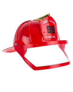 US Toy Hard Plastic Firefighter Costume Helmet w Visor, Red Black, One-Size