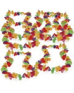 "US Toy Hawaiian Lotus Tropical Luau Party 36"" Long Fabric Leis, Rainbow, 12 Pack"