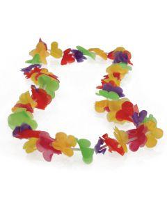 "US Toy Hawaiian Lotus Tropical Luau Party 36"" Long Fabric Lei, Rainbow"