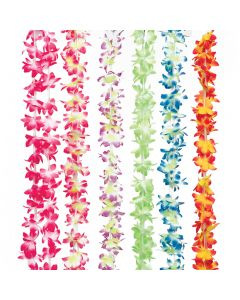 "US Toy Mini Flower Hawaiian 36"" Long Fabric Leis, Assorted, 12 Pack"