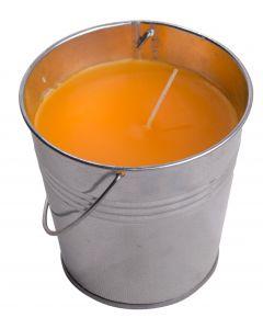 "Citronella Candle Galvanized Look Jumbo 4.25"" Metal Bucket, Luau Decor, Silver"