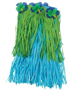 "US Toy Hawaiian Luau Tropical Flower Hula Girl Skirt, Blue Green, Child Size 18"""