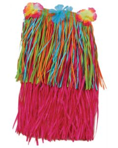 "US Toy Hawaiian Luau Tropical Flower Hula Girl Skirt, Pink, Child Size 18"""