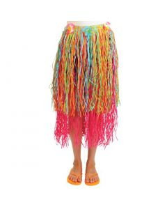 """US Toy Summer Paper Hula Luau Party Costume Skirt, Rainbow, Adult 33""""Wx30""""L"""
