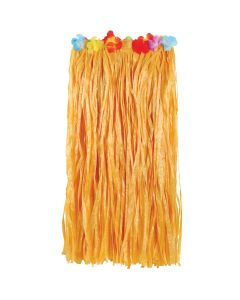 """Luau Adult Natural Color Hula Skirt w Flowers, Beige, One-Size 35"""" Waist, 32""""L"""