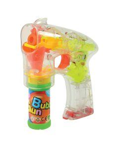 """US Toy Flashing Bubble Gun with Bubbles 5.5""""x6.5"""" LED Bubble Gun, Transparent"""