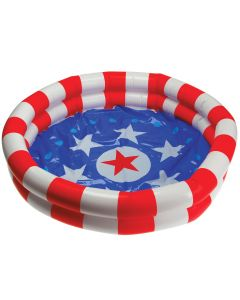 "US Toy Patriotic Stars & Stripes Inflatable 36"" Dia. Pool, Red White Blue"