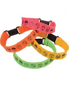 """US Toy Smiley Face Bracelets Easter Egg Filler 8"""" Party Favors, 12 Pack"""