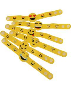 "Plastic Snap Emoji Bracelet Easter Egg Filler 8.25"" Party Favors, Yellow, 6 Pack"