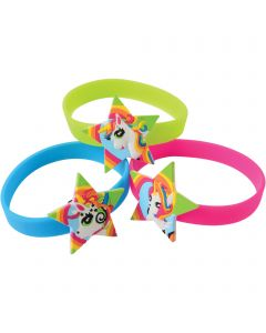 "Unicorn Rubber Bracelets Easter Egg Filler 2.5"" Party Favors, Rainbow, 12 Pack"