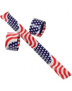 "US Toy Patriotic Flag Slap 9""L Bracelets, Red White Blue, 6 Pack"