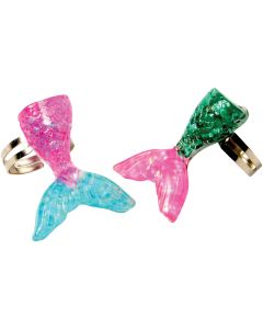 "Glittery Iridescent Mermaid Tail 1.25"" Party Favor Rings, Pink Gold, 6 Pack"
