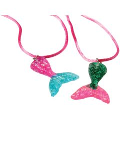 "Magical Mermaid Tail Iridescent 24"" Party Favor Necklaces, Pink, 12 Pack"