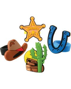 U.S. Toy Western Cowboy Rubber  Party Favor Rings, Assorted, 12 Pack