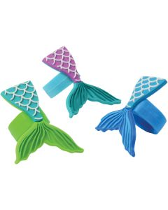 """US Toy Mermaid Tail Rubber Rings 1.5"""" Party Favors, Blue Green Purple, 12 Pack"""
