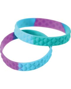 "Mermaid Scale Rubber Stretch 2.5"" Party Favor Bracelets, Purple Blue, 12 Pack"