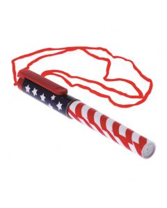"US Toy Patriotic Pen USA American 24"" Necklaces, Red White Blue, 12 Pack"