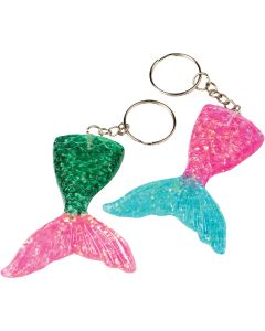 "Mermaid Tail Iridescent 4.5""x2.5"" Party Favor Keychains, Pink Blue Green, 8 Pack"