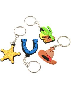 """U.S. Toy Western Rubber 1.5"""" Party Favor Keychains, Assorted, 12 Pack"""