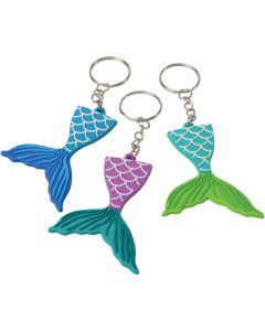 "U.S. Toy Mermaid Tail Rubber  2.5"" Party Favor Keychains, Multicolors, 12 Pack"