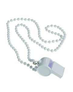 US Toy Whistle Bead Party Sports Noise Maker 32 in Necklace, White