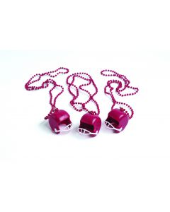 "US Toy Football Helmets Favor Beaded 17"" Party Necklace, Maroon White, 12 Pack"