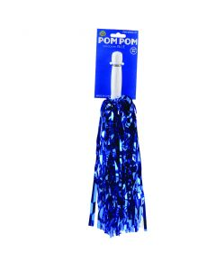 Team Color Shiny Foil Plastic Streaming 15 Inches Pom Poms, Blue, 2 CT