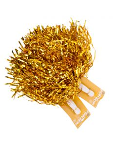 "Football Or School Team Spirit Cheer Metallic 10"" Pom Poms, Gold, 2 Pack"