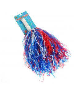 Patriotic Shiny Plastic Streaming 15 Inches Pom Poms, Red White Blue, 2 CT