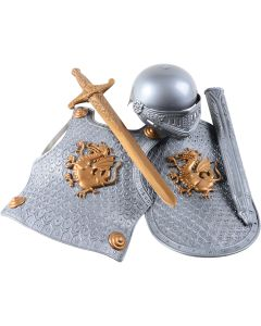 Child's Crusader Knight 4pc Kids Costume Accessory Set, Silver Gold, One-Size