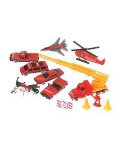 "US Toy Emergency to the Rescue Complete 10pc 4"" Vehicle Playset, Red Yellow"