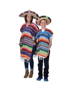 US Toy Adult Economy Mexican Poncho Adult Costume, Assorted Multicolor, One-Size