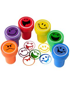 "US Toy Smiley Face Ink Stampers Easter Egg Filler 1.5"" Party Favors, 6 Pack"
