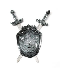 "Dragon Double Sword & Shield 3pc Costume Weapon Accessory Set, Grey Silver, 19"""