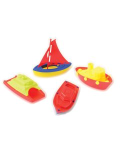 "US Toy Plastic Sailing Boats Beach Bath 4""-5"" Water Toy Set, Multicolor, 4 Pack"