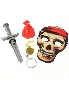 US Toy Pirate Mask, Dagger, Coin, Earring 5pc Costume Accessory Kit