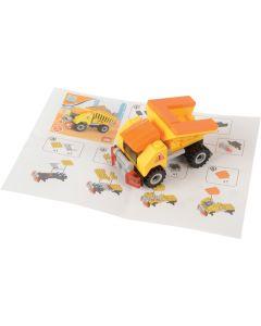 Dump Truck Carry Car Construction Building Block Set, Yellow Black