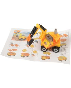 Excavator Crane Grab Construction Building Block Set, Yellow Black