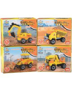 Construction Team Trucks Toy Bricks Building Block Set, Yellow Black