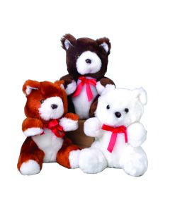 US Toy Ribbon Teddy Bear Valentines Day 6 in Plush Animals, Brown White, 12 Pack